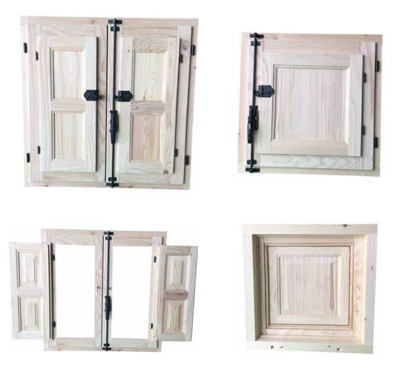 Collage de ventanas de madera sencillas.