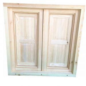 Imagen de ventana de madera desde su perspectiva exterior.