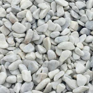 Canto rodado blanco puro de 12-25 mm.